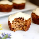 Healthy Carrot Cake Muffins with Maple Cream Cheese Frosting (Gluten-Free, Naturally Sweetened)