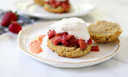 Gluten Free Shortcakes with Roasted Strawberries & Rhubarb