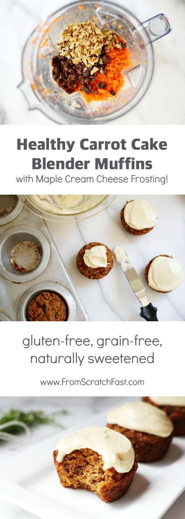 Naturally sweetened carrot cake muffins that are gluten-free & grain-free but taste just like carrot cake!