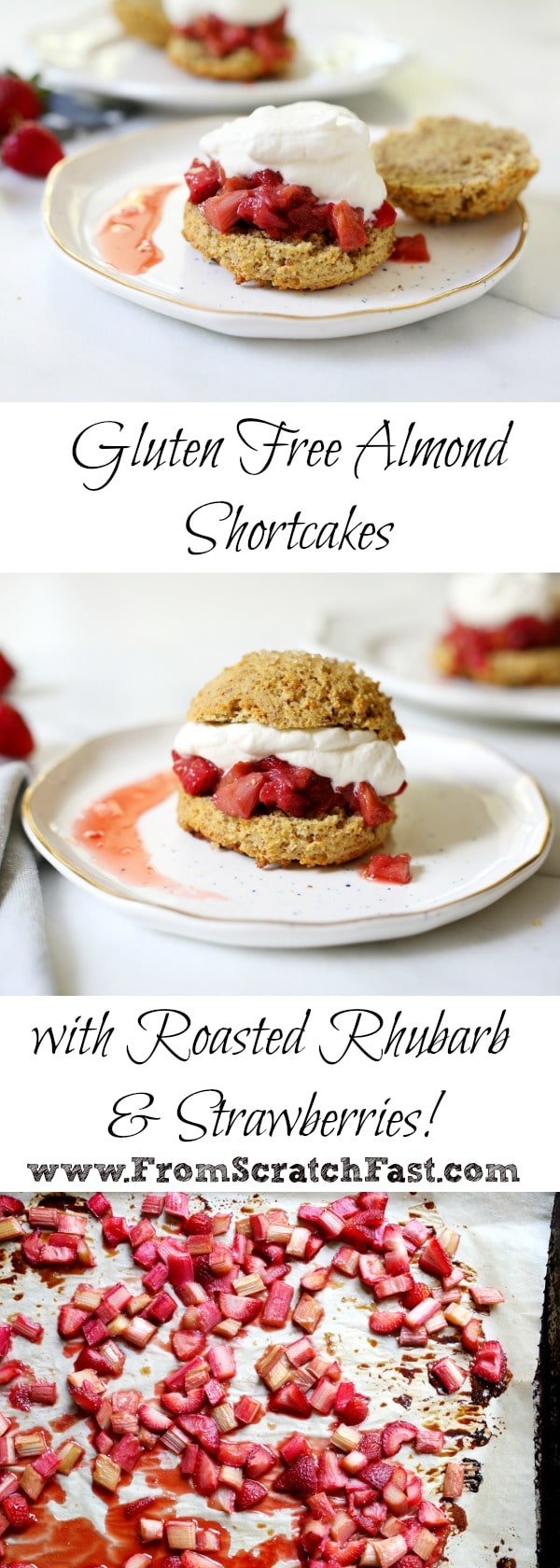 These lightly sweetened gluten free shortcakes are almond-scented and supremely tender, perfect with roasted rhubarb, strawberries and billows of whipped cream!