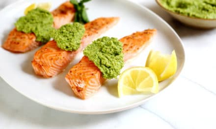 Maple Roasted Salmon with Sweet Pea Pesto