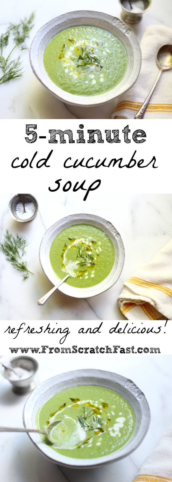 This revitalizing cold cucumber soup comes together in 5 minutes!