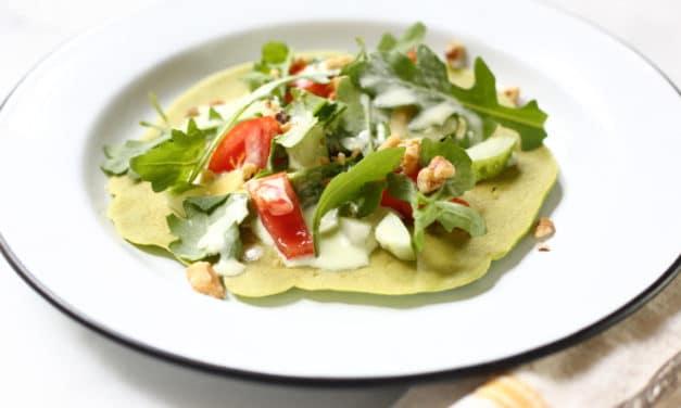 Green Chickpea Flatbreads with Buttermilk Greek Salad (GF, V)