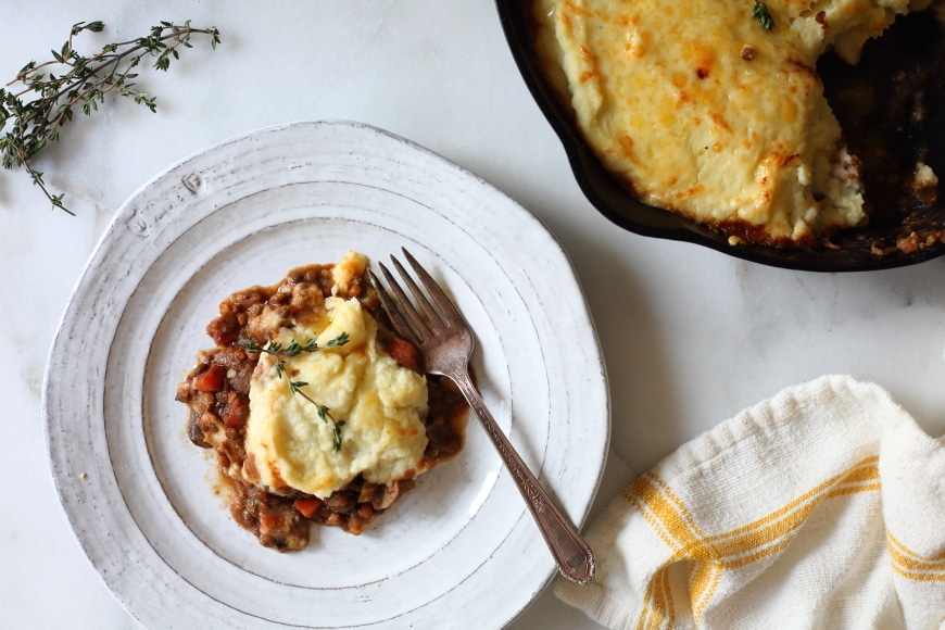 Baked lentil shepherds pie
