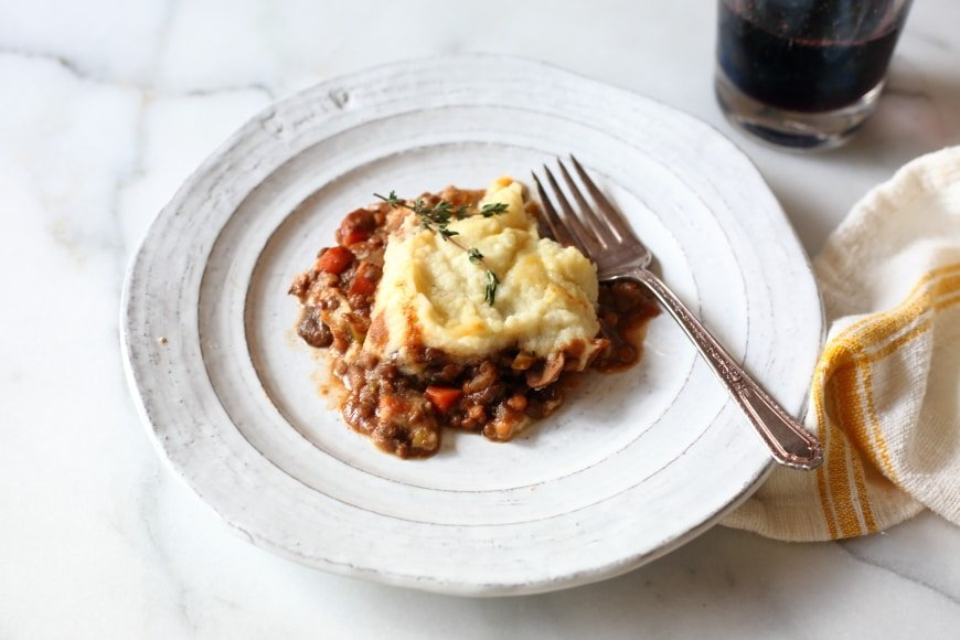 Lentil shepherd's pie on plate