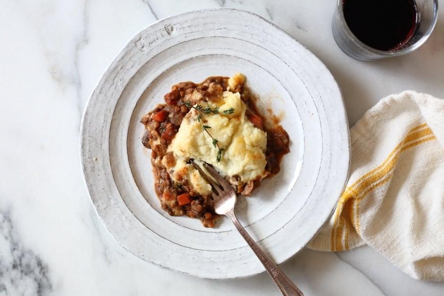 Lentil shepherds pie on plate.