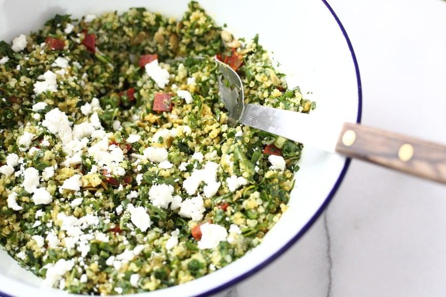 Kale tabbouleh in bowl