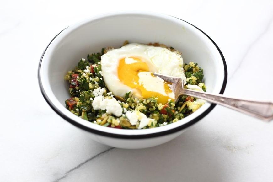 Kale tabbouleh with runny egg