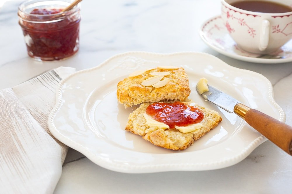 Easy shortcake recipe, shortcakes as scones on plate with butter and jam