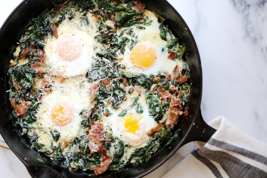 Easy to Make Breakfast Ideas for Mom - Spinach Baked Eggs