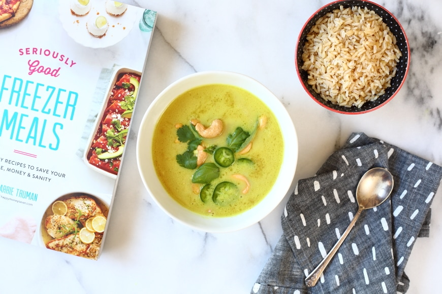 Coconut cashew curry soup in bowl with rice