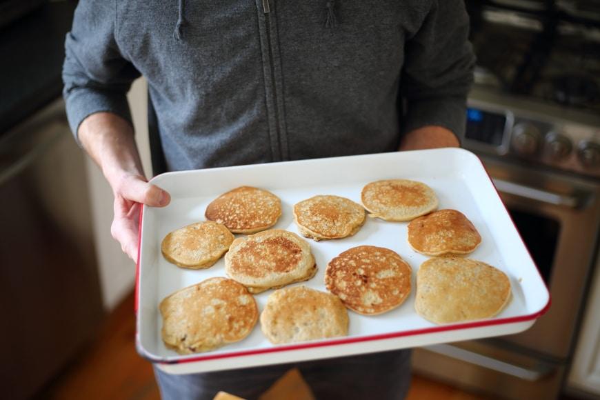 Banana oat blender pancakes on tray