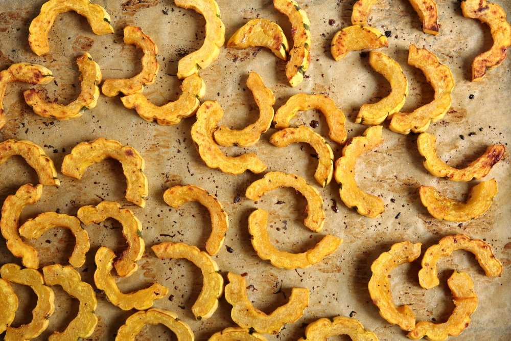 Roasted delicata squash on sheetpan