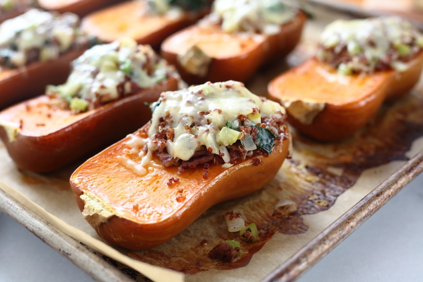 Gluten Free Recipes for Thanksgiving : Quinoa & Apple stuffed honeynut squash