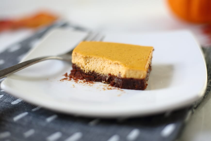 Gluten Free Recipes for Thanksgiving : Pumpkin cheesecake brownie bars