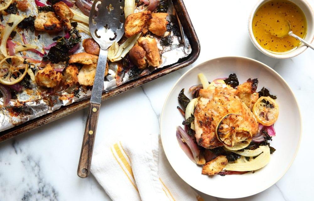 Sheet Pan Chicken Thighs with Warm Panzanella Salad (GF Option)