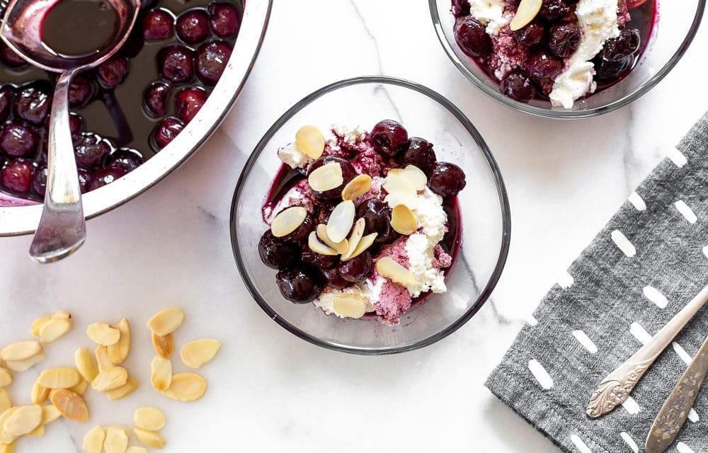 Cherries in Port with Sweet Ricotta (easy cheesecake bowls!)