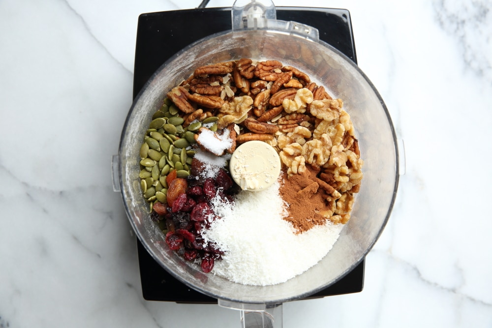 ingredients in food processor for granola clusters recipe