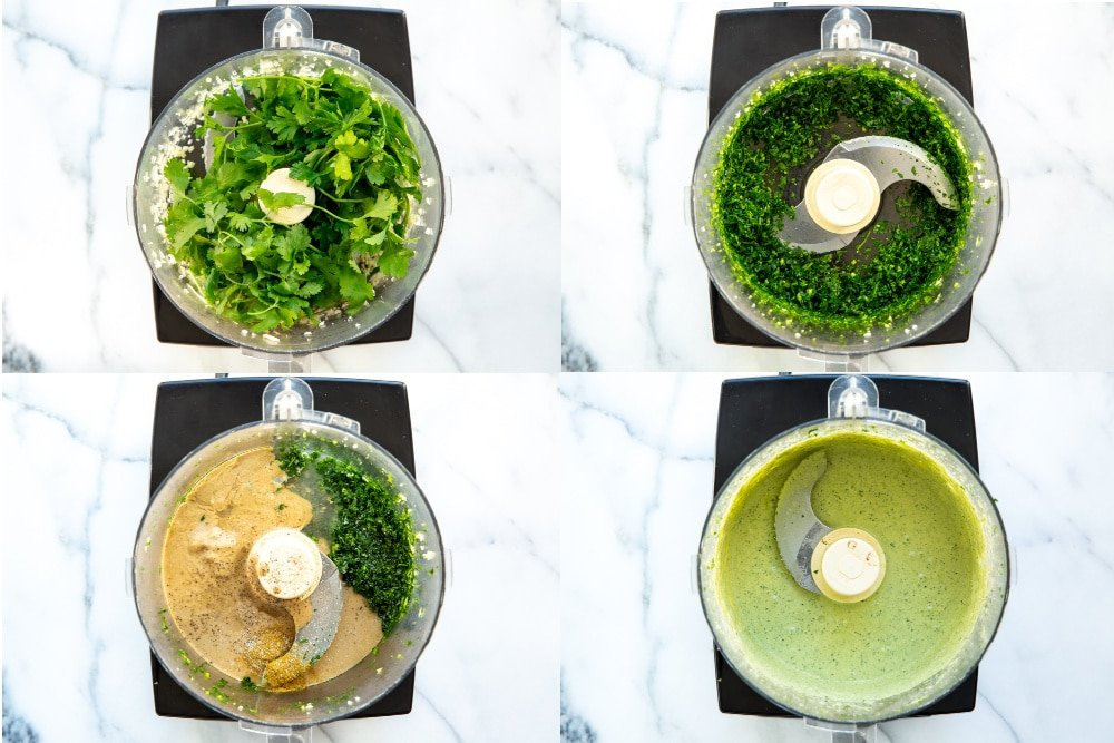 Process shot for making green tahini sauce in the food processor, divided into 4 quadrants.