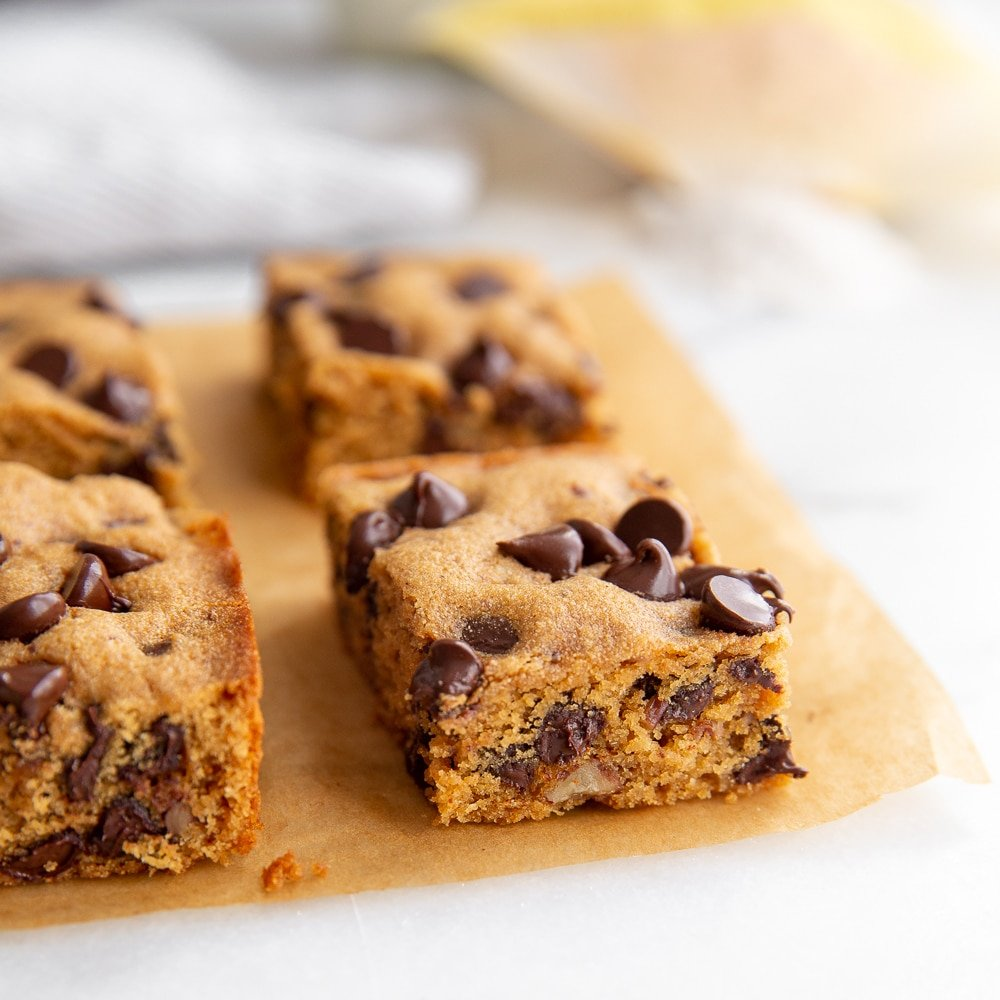 Cassava Cookie bars on parchment paper