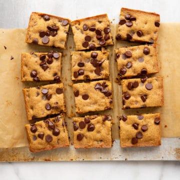 Cassava cookie bars on sheetpan