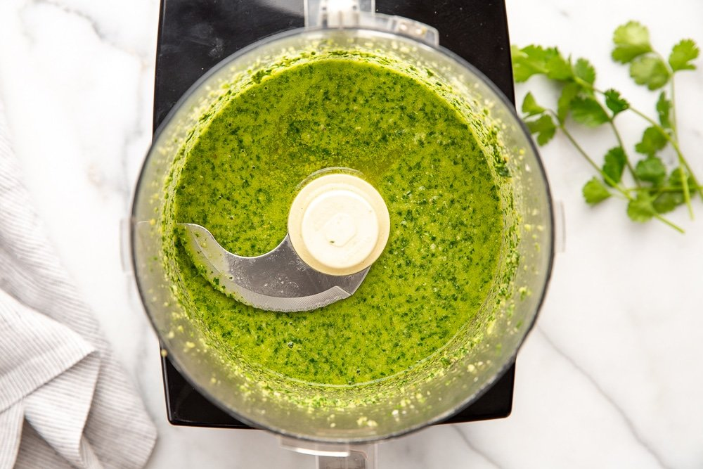 Green sauce in food processor