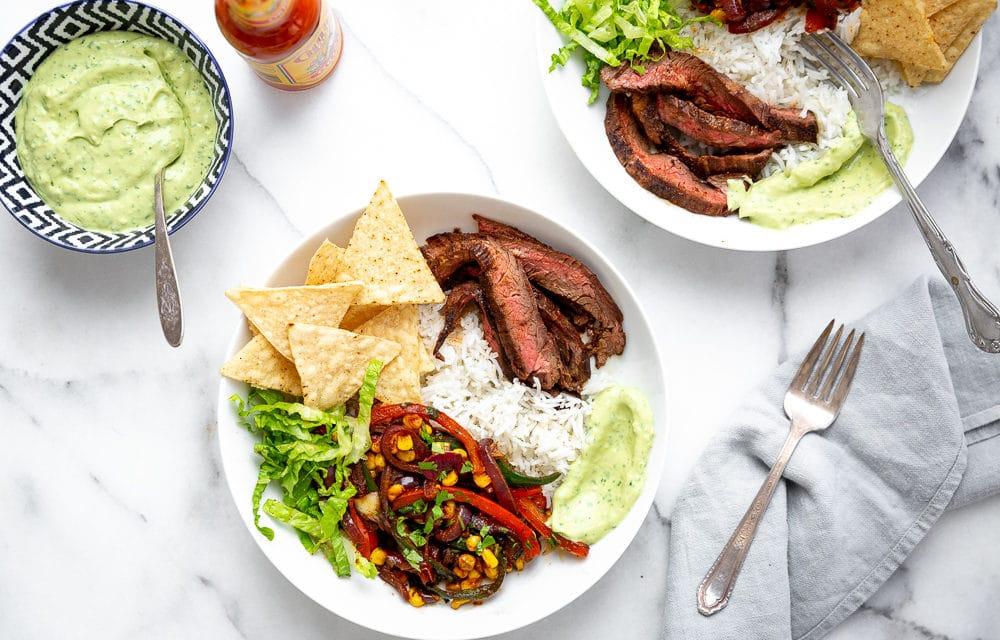 Ultimate Steak Burrito Bowls with Avocado Crema