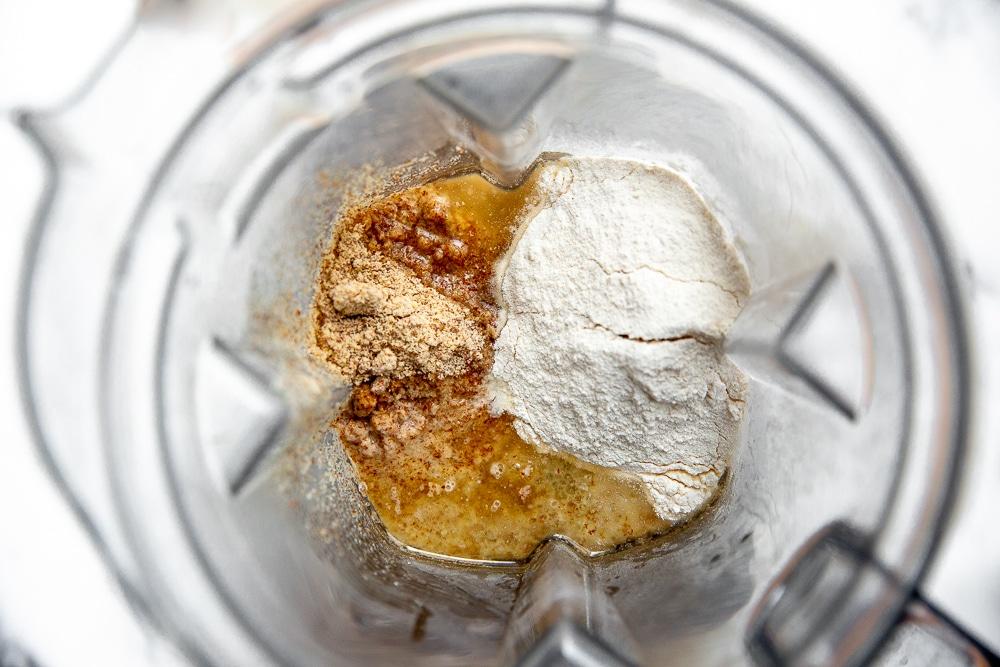 Process shot showing ingredients in blender to make the cassava tortilla recipe.