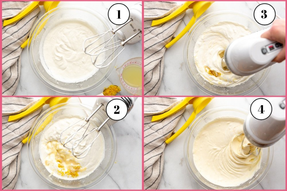 Four photos showing the steps for making the filling for the creamy lemon pie with almond crust