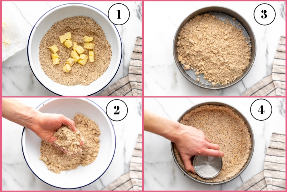 Four photos showing the steps for making the almond crust for the creamy lemon pie