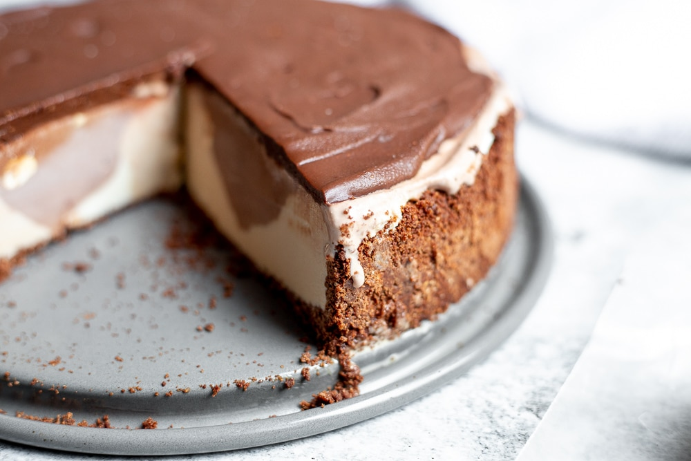 Gluten free ice cream pie for Christmas, on a plate.