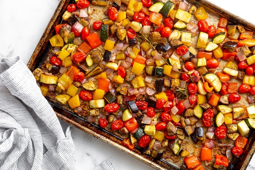 Roasted vegetables on baking sheet for the easy ratatouille recipe