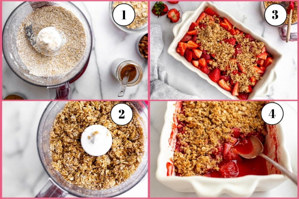 Process shot of making the gluten-free strawberry crisp, divided into 4 frames, starting with the oat nut topping