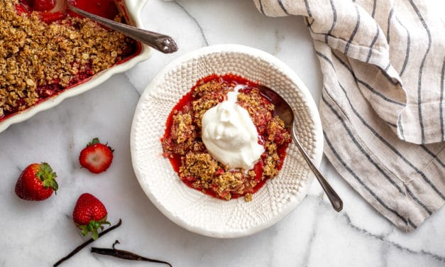 The Best Gluten-Free Strawberry Crisp (Vegan option)