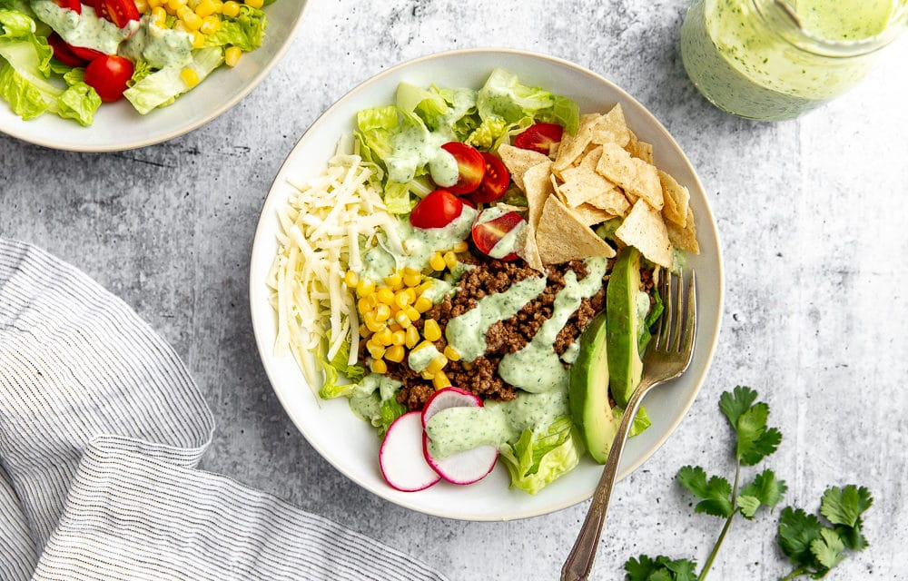 Healthy Taco Salad with Creamy Cilantro Lime Dressing