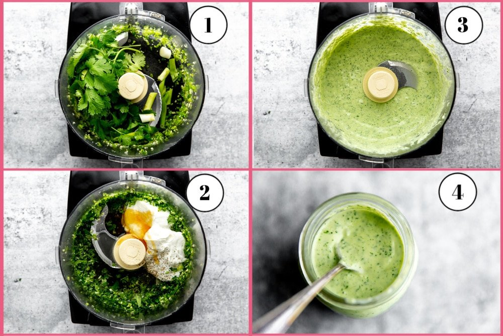 Process shot divided into four frames showing the steps to making a creamy cilantro lime dressing in the food processor