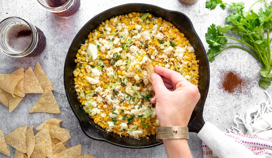 Elote Dip with Jalapeños and Feta