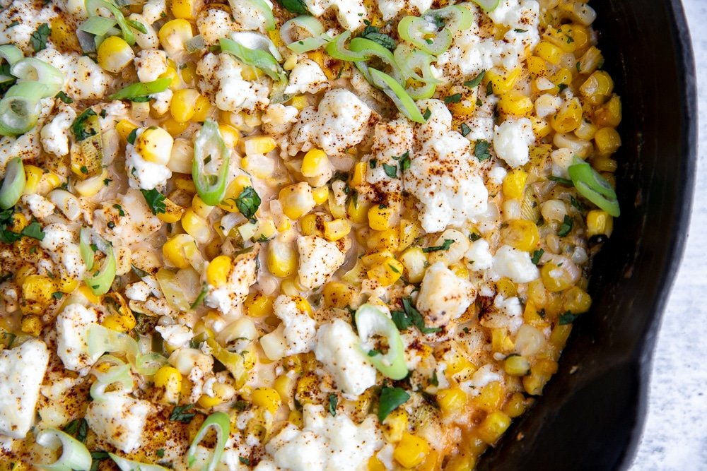 Overhead close up of elote dip.
