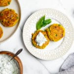 Curried Millet Cakes with Cucumber Mint Raita