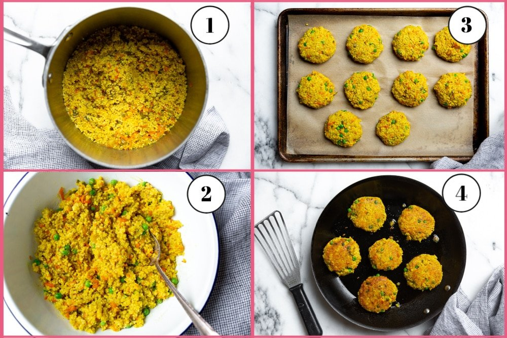 Process shot of making millet cakes, divided into 4 quadrants, showing the cooked millet in the pot, the millet cake mixture in a bowl, the formed millet cakes on a baking sheet, and the cooked millet cakes in a skillet