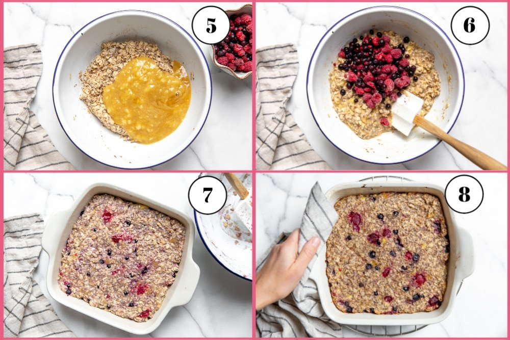 Process shot divided into four quadrants, showing how to mix the banana puree and berries into the the oatmeal mixture and bake it.
