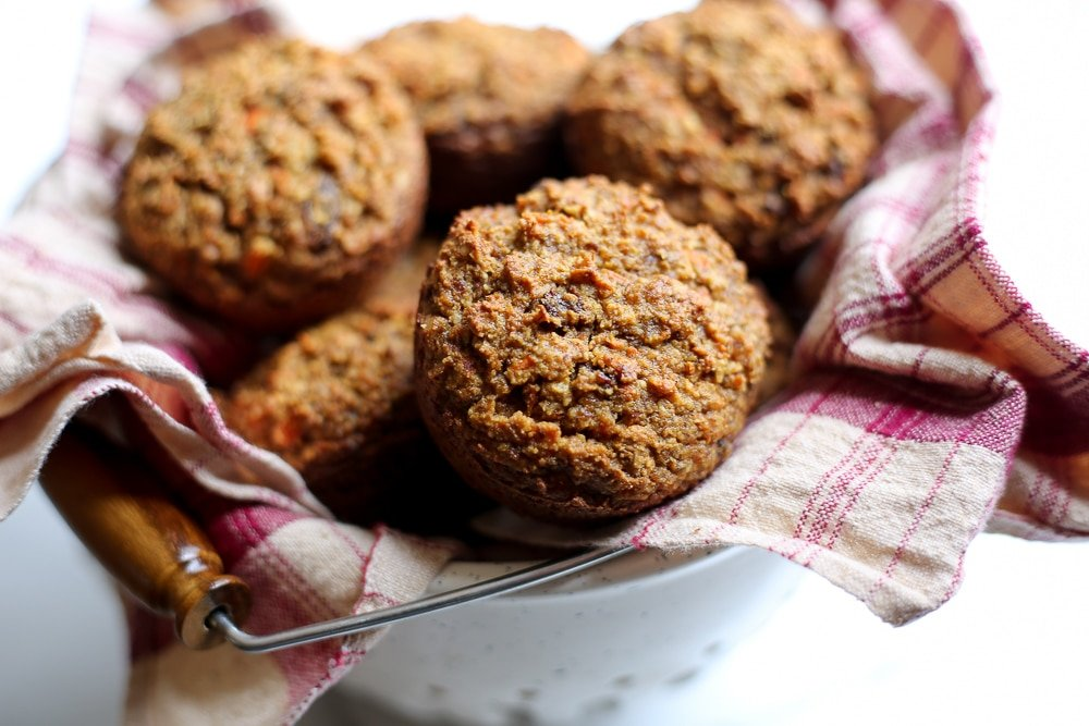 Carrot cake muffins in a basket.
