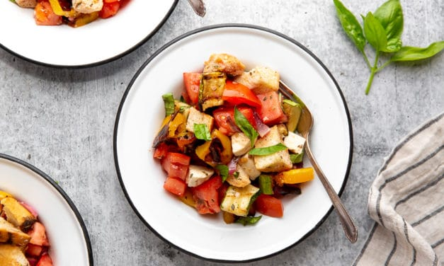 Healthy Grilled Panzanella Salad (A One Bowl Meal) gluten-free friendly!