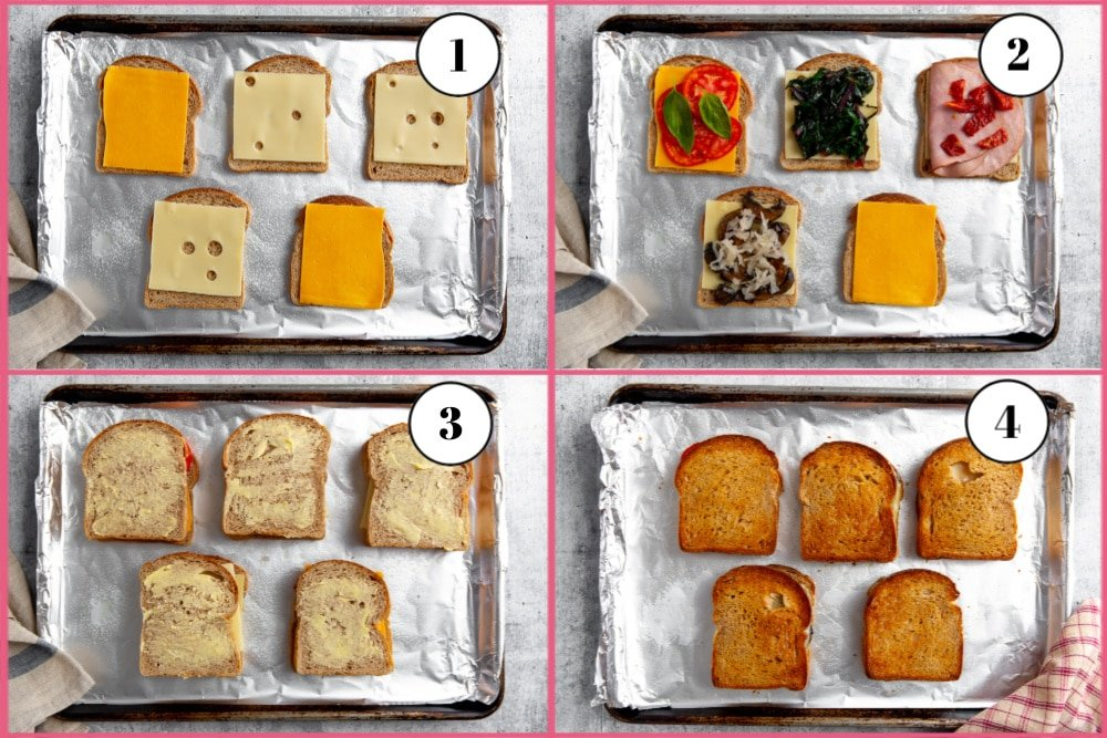Process shot divided into four quadrants, showing steps for making oven grilled cheese.