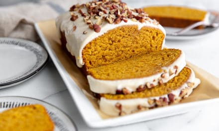 Pumpkin Pound Cake with Bourbon Cream Cheese Glaze (GF option!)