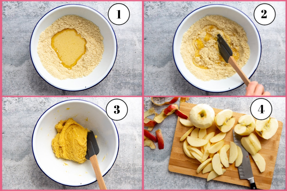 Process shot divided into 4 quadrants, showing the steps for making the cobbler biscuits.
