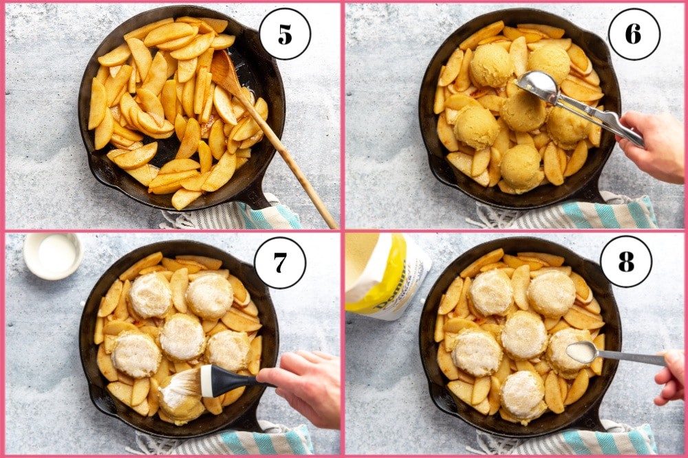 Process shot divided into 4 quadrants showing the steps for cooking the apples and adding the biscuits.