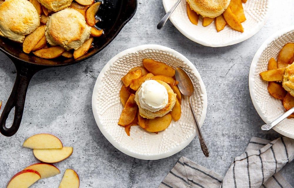 Easy Apple Skillet Cobbler with Almond Shortcake Topping (Grain-Free!)
