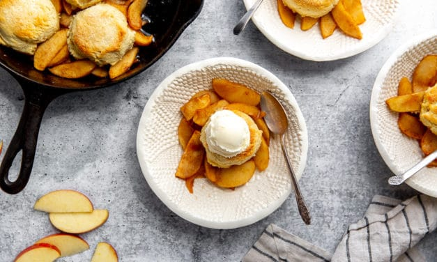 Easy Apple Skillet Cobbler with Almond Shortcake Topping (Grain-Free!)