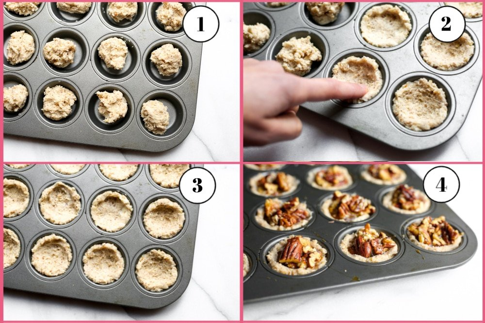 Process shot divided into 4 quadrants showing how to press the dough in the mini muffin tins.